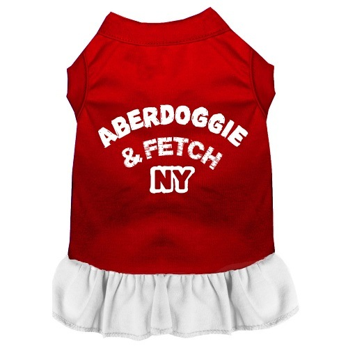 Aberdoggie NY Screen Print Pet Dress - Color Combo - Red with White | The Pet Boutique