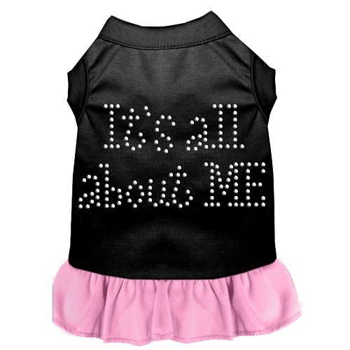 All About Me Rhinestone Pet Dress - Black with Light Pink | The Pet Boutique