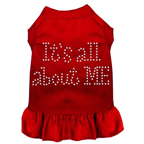 All About Me Rhinestone Pet Dress - Red | The Pet Boutique