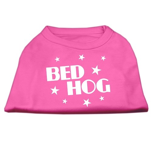 Bed Hog Screen Print Dog Shirt - Bright Pink | The Pet Boutique