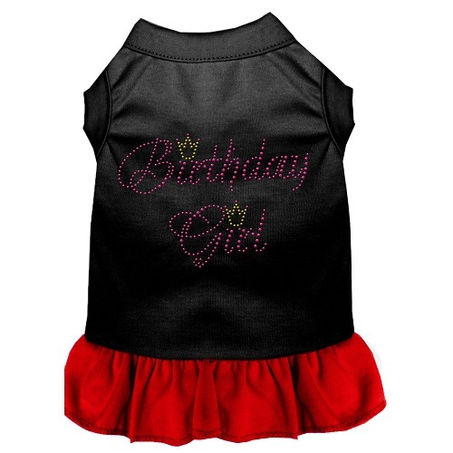 Birthday Girl Rhinestone Pet Dress - Black with Red | The Pet Boutique