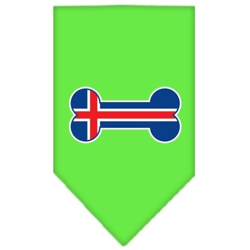 Bone Flag Iceland Screen Print Pet Bandana - Lime Green   The Pet Boutique