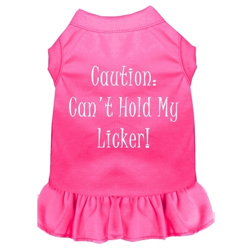 Can't Hold My Licker Screen Print Pet Dress - Bright Pink | The Pet Boutique
