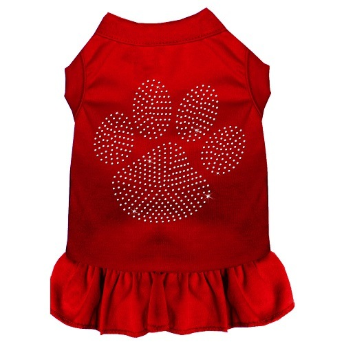 Clear Paw Rhinestone Pet Dress - Red   The Pet Boutique
