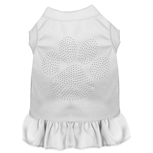Clear Paw Rhinestone Pet Dress - White   The Pet Boutique