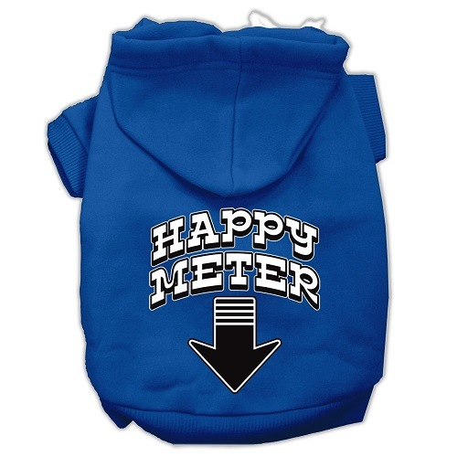 Happy Meter Screen Print Dog Hoodie - Blue | The Pet Boutique