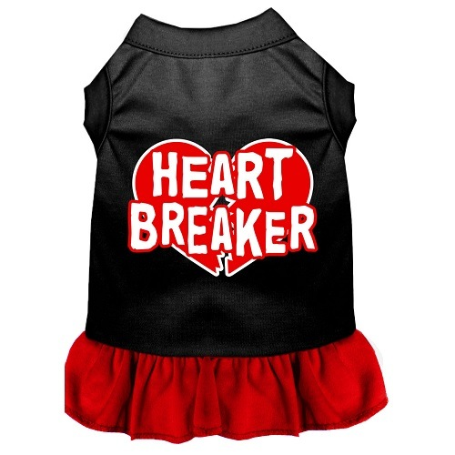 Heart Breaker Screen Print Pet Dress - Color Combo - Black with Red   The Pet Boutique