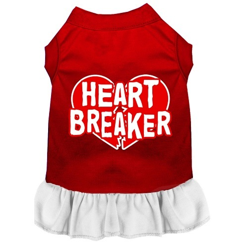 Heart Breaker Screen Print Pet Dress - Color Combo - Red with White   The Pet Boutique