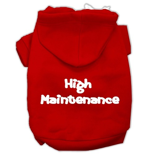 High Maintenance Screen Print Pet Hoodie - Red | The Pet Boutique