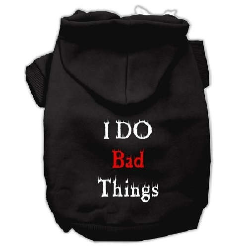 I Do Bad Things Screen Print Pet Hoodie - Black | The Pet Boutique