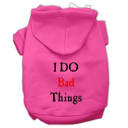 I Do Bad Things Screen Print Pet Hoodie - Bright Pink | The Pet Boutique