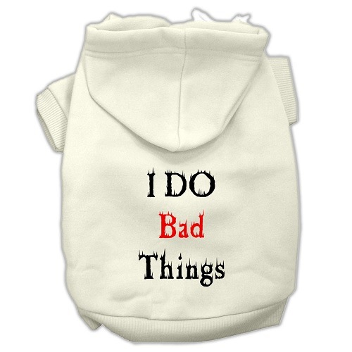 I Do Bad Things Screen Print Pet Hoodie - Cream | The Pet Boutique