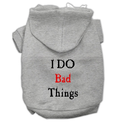 I Do Bad Things Screen Print Pet Hoodie - Grey | The Pet Boutique