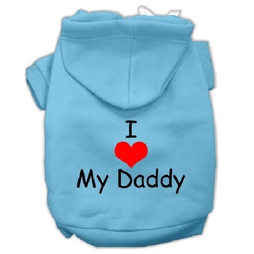 I Love My Daddy Screen Print Pet Hoodie - Baby Blue | The Pet Boutique