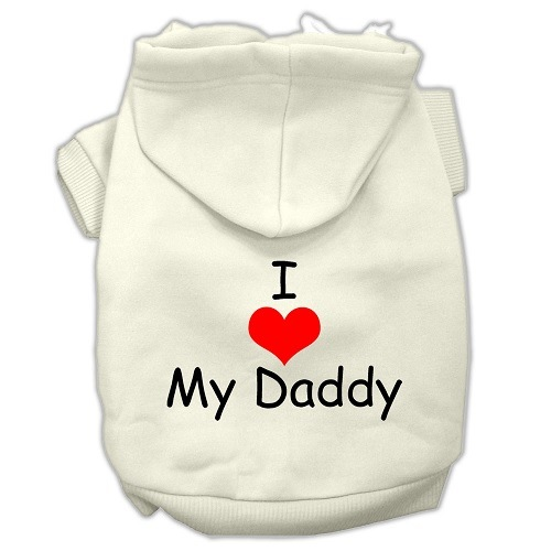 I Love My Daddy Screen Print Pet Hoodie - Cream | The Pet Boutique
