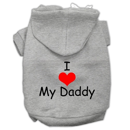 I Love My Daddy Screen Print Pet Hoodie - Grey | The Pet Boutique