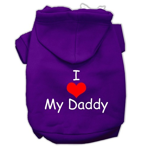 I Love My Daddy Screen Print Pet Hoodie - Purple | The Pet Boutique