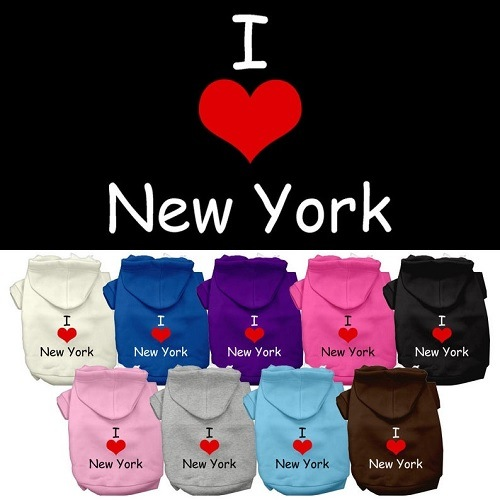 I Love New York Screen Print Pet Hoodie   The Pet Boutique