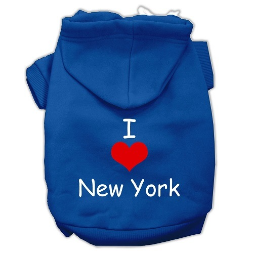 I Love New York Screen Print Pet Hoodie - Blue   The Pet Boutique