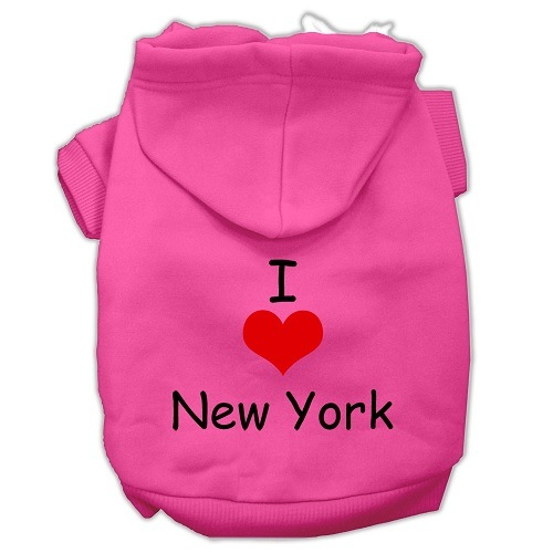 I Love New York Screen Print Pet Hoodie - Bright Pink   The Pet Boutique