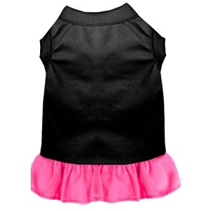 Plain Pet Dress - Black with Bright Pink | The Pet Boutique