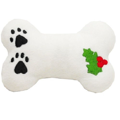 Plush Holly Bone Christmas Dog Toy with Squeaker | The Pet Boutique