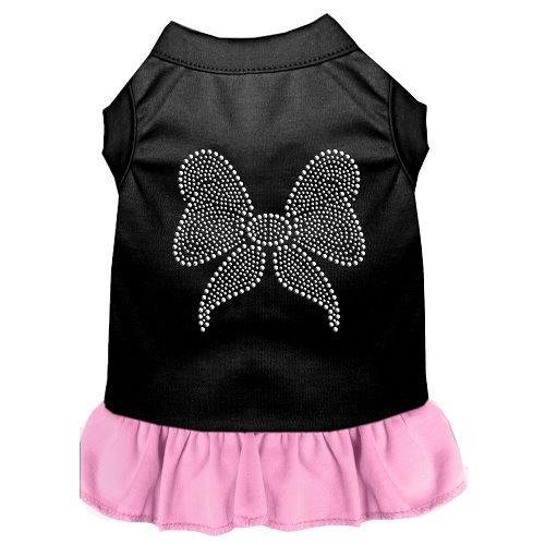 Rhinestone Bow Pet Dress - Color Combo - Black with Light Pink | The Pet Boutique