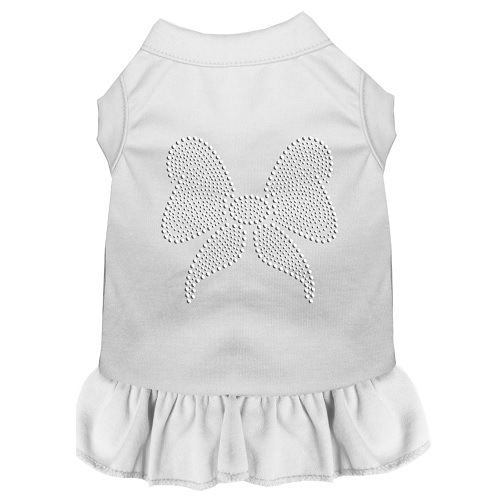 Rhinestone Bow Pet Dress - White | The Pet Boutique