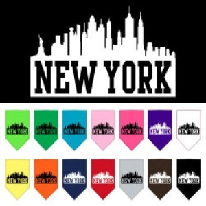 New York Skyline Screen Print Pet Bandana | The Pet Boutique