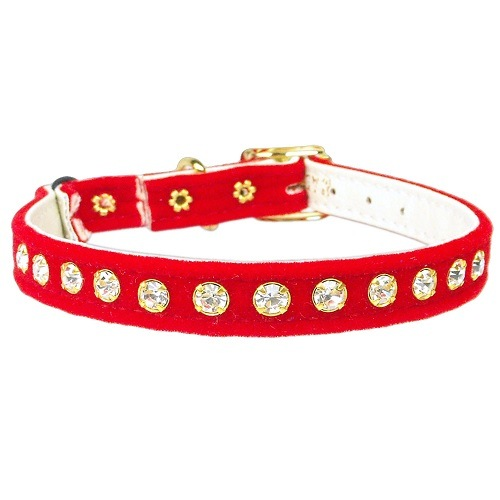Velvet Cat Safety Collar with Band - Red | The Pet Boutique