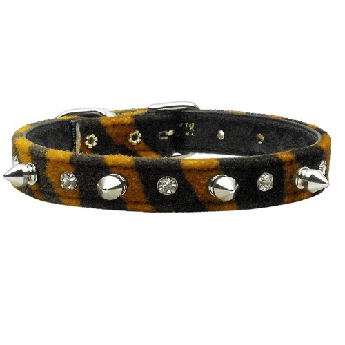 Animal Print Crystal Jewel and Spike Dog Collar - Tiger   The Pet Boutique