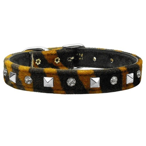 Animal Print Crystal and Pyramid Dog Collar - Tiger | The Pet Boutique