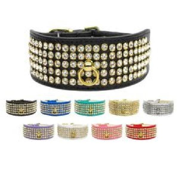 Clear Crystal 5 Row Mirage Dog Collar | The Pet Boutique