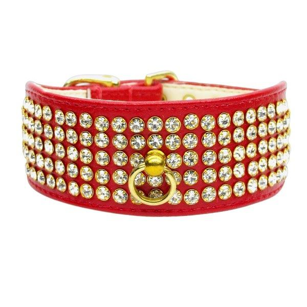 Clear Crystal 5 Row Mirage Dog Collar - Red | The Pet Boutique