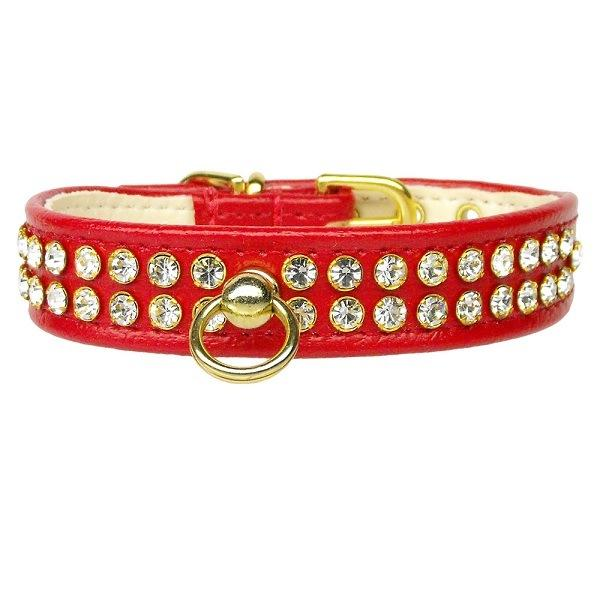 Clear Crystal #72 Dog Collar - Red | The Pet Boutique