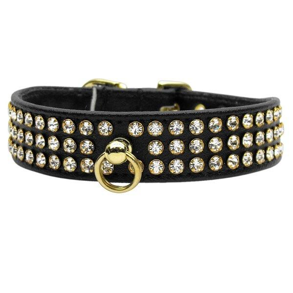 Clear Crystal #73 Dog Collar - Black   The Pet Boutique