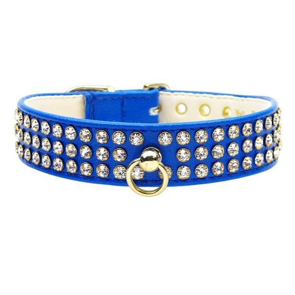Clear Crystal #73 Dog Collar - Blue   The Pet Boutique