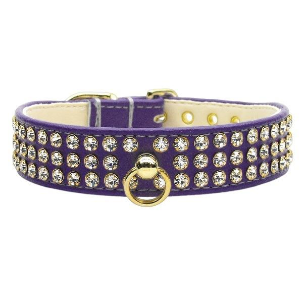 Clear Crystal #73 Dog Collar - Purple   The Pet Boutique