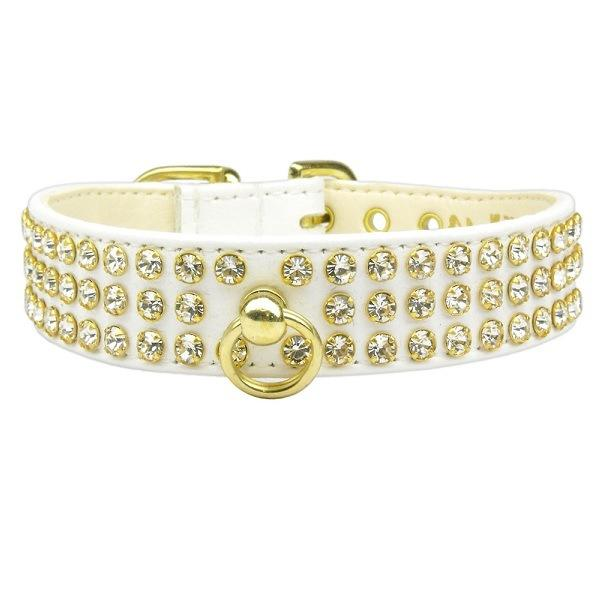 Clear Crystal #73 Dog Collar - White   The Pet Boutique