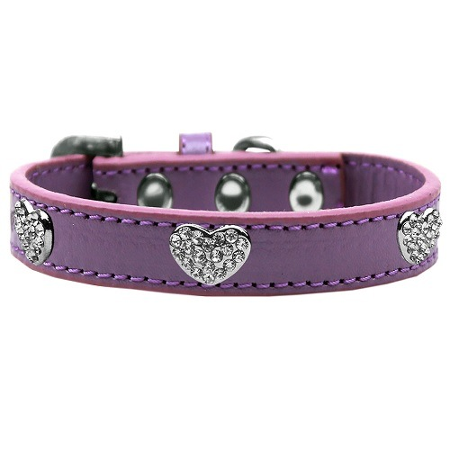 Crystal Heart Dog Collar - Lavender | The Pet Boutique