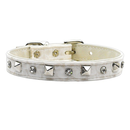 Faux Snake Skin Crystal and Pyramid Dog Collar - Off White   The Pet Boutique
