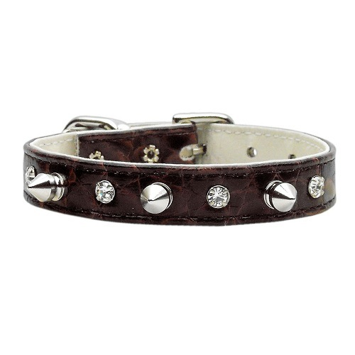 Faux Snake Skin Crystal and Spike Dog Collar - Chocolate | The Pet Boutique