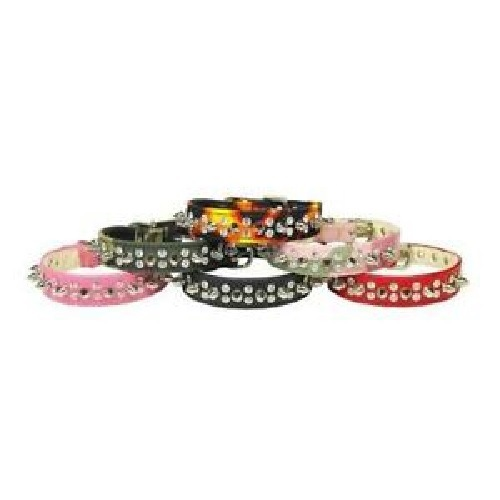 Flame Double Crystal and Spike Dog Collar | The Pet Boutique