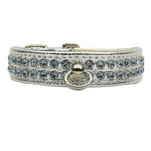 Fleetwood Rhinestone Dog Collar - Silver with Light Blue Stones   The Pet Boutique