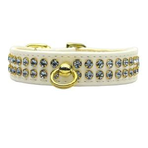 Fleetwood Rhinestone Dog Collar - White with Light Blue Stones   The Pet Boutique