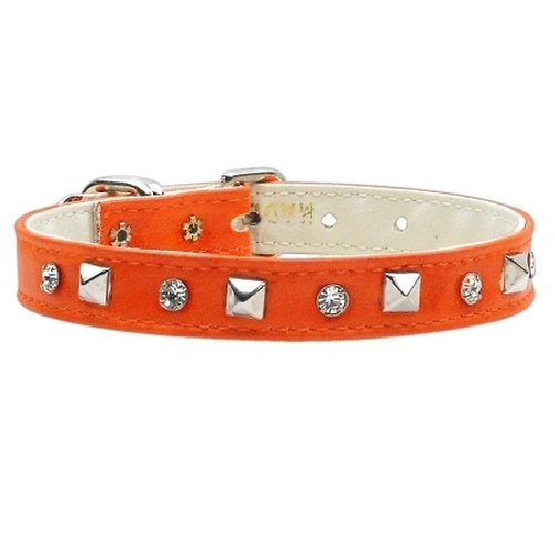 Just the Basics Crystal and Pyramid Dog Collar - Orange | The Pet Boutique
