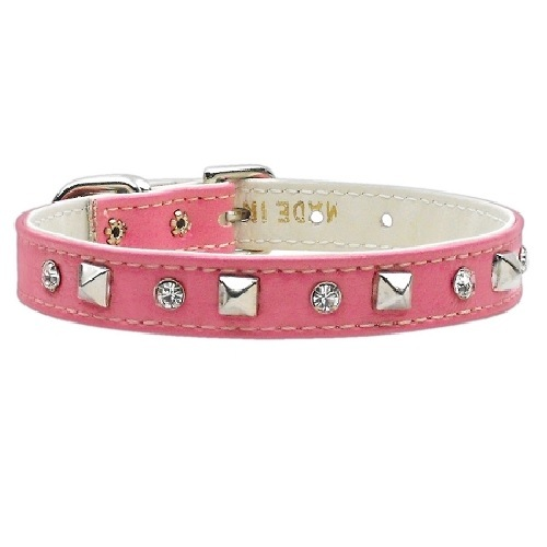 Just the Basics Crystal and Pyramid Dog Collar - Pink | The Pet Boutique