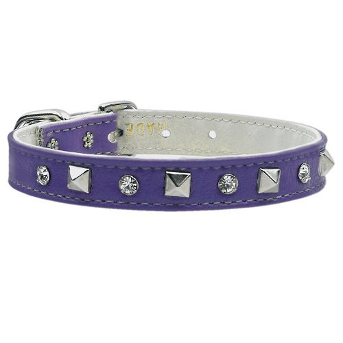 Just the Basics Crystal and Pyramid Dog Collar - Purple | The Pet Boutique