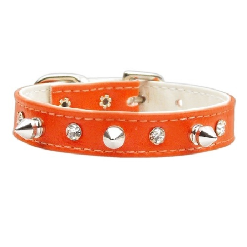 Just the Basics Crystal and Spike Dog Collar - Orange   The Pet Boutique