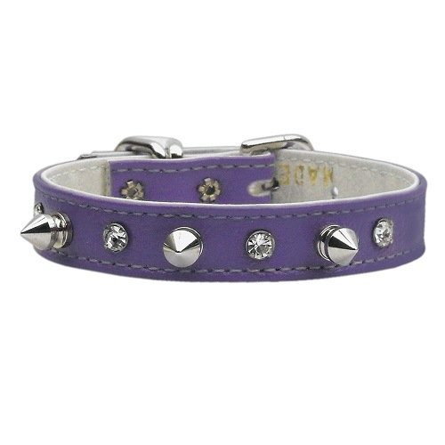 Just the Basics Crystal and Spike Dog Collar - Purple   The Pet Boutique